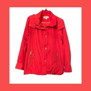 Michael Kors Red Rain Lightweight Hooded Jacket